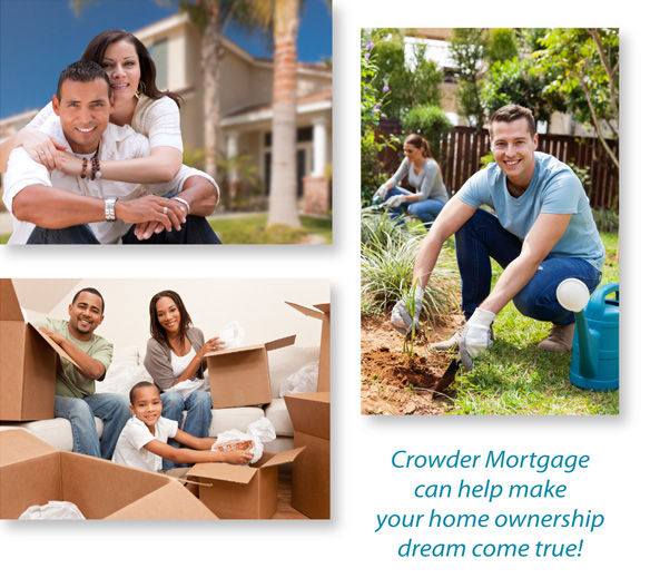 mortgage broker in boulder, collage featuring a couple outside their new house, a family unpacking boxes and a young man and woman doing yardwork